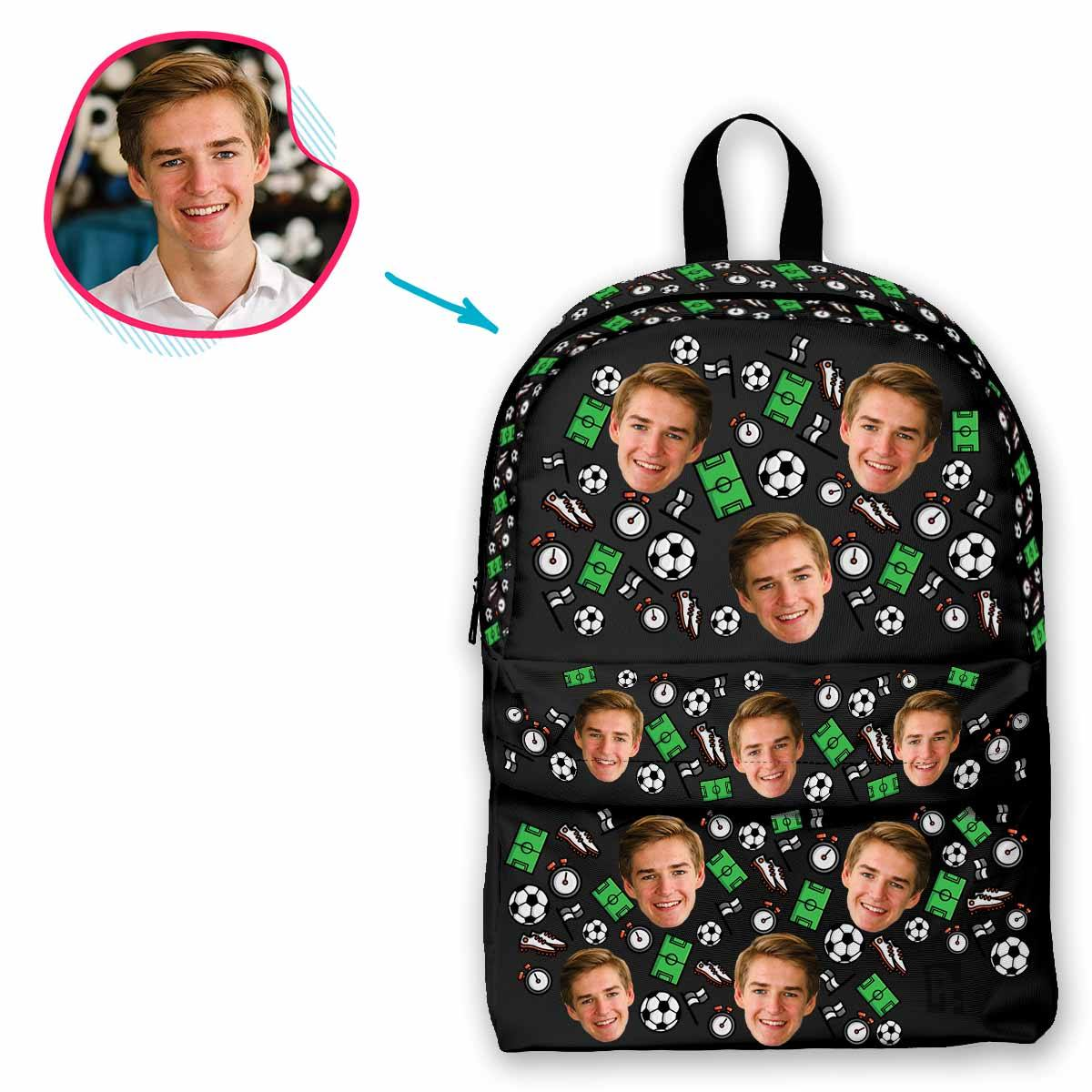 dark Football classic backpack personalized with photo of face printed on it