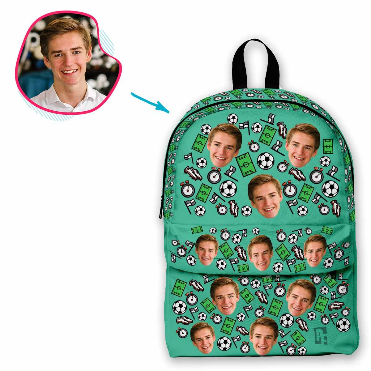 mint Football classic backpack personalized with photo of face printed on it