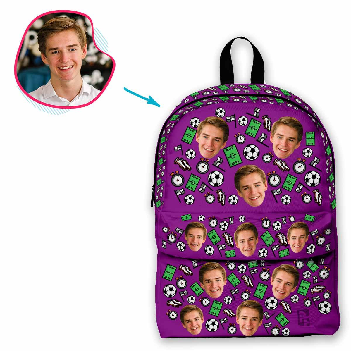 purple Football classic backpack personalized with photo of face printed on it