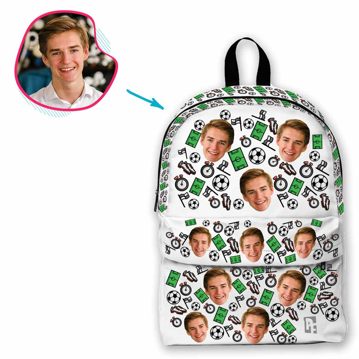 white Football classic backpack personalized with photo of face printed on it