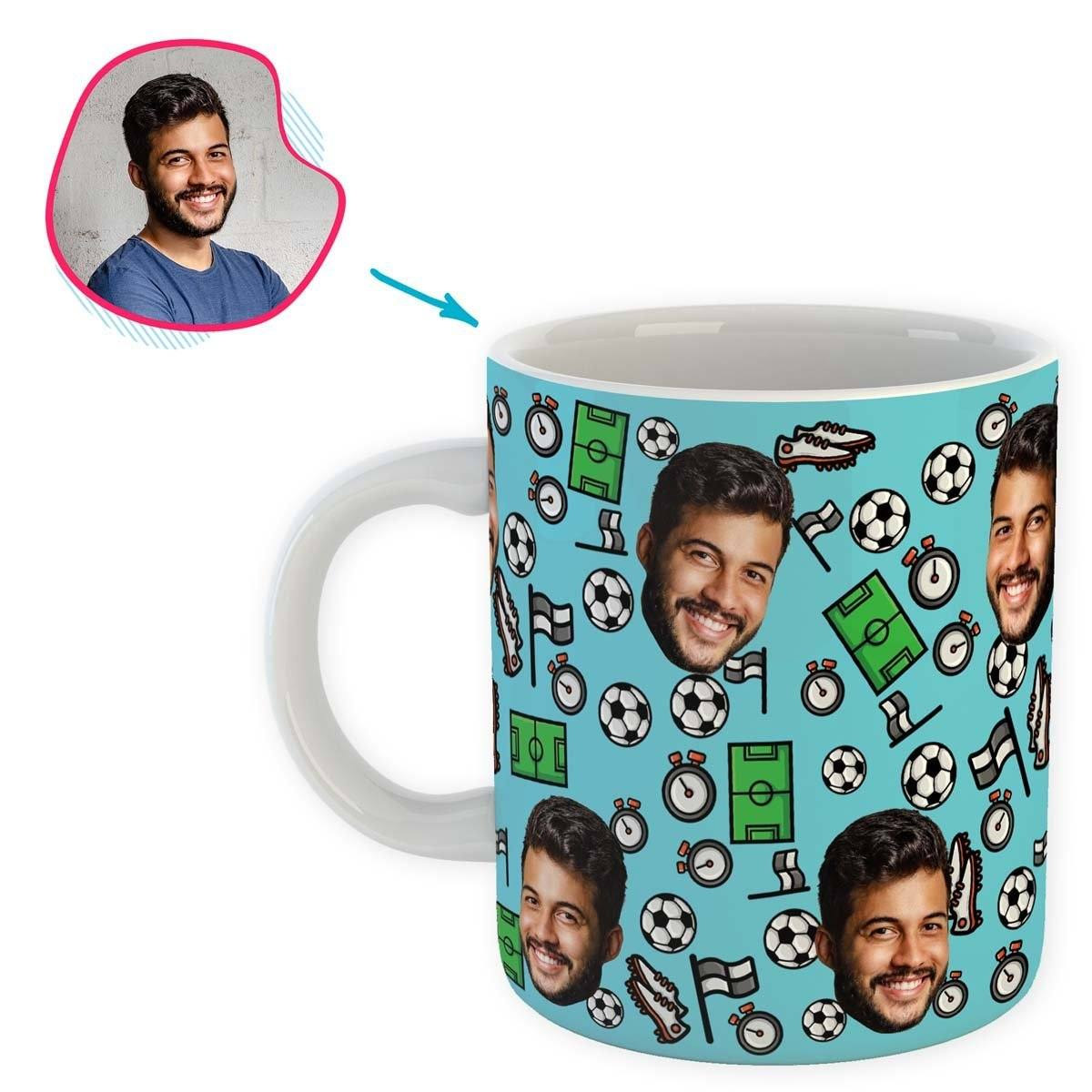 blue Football mug personalized with photo of face printed on it
