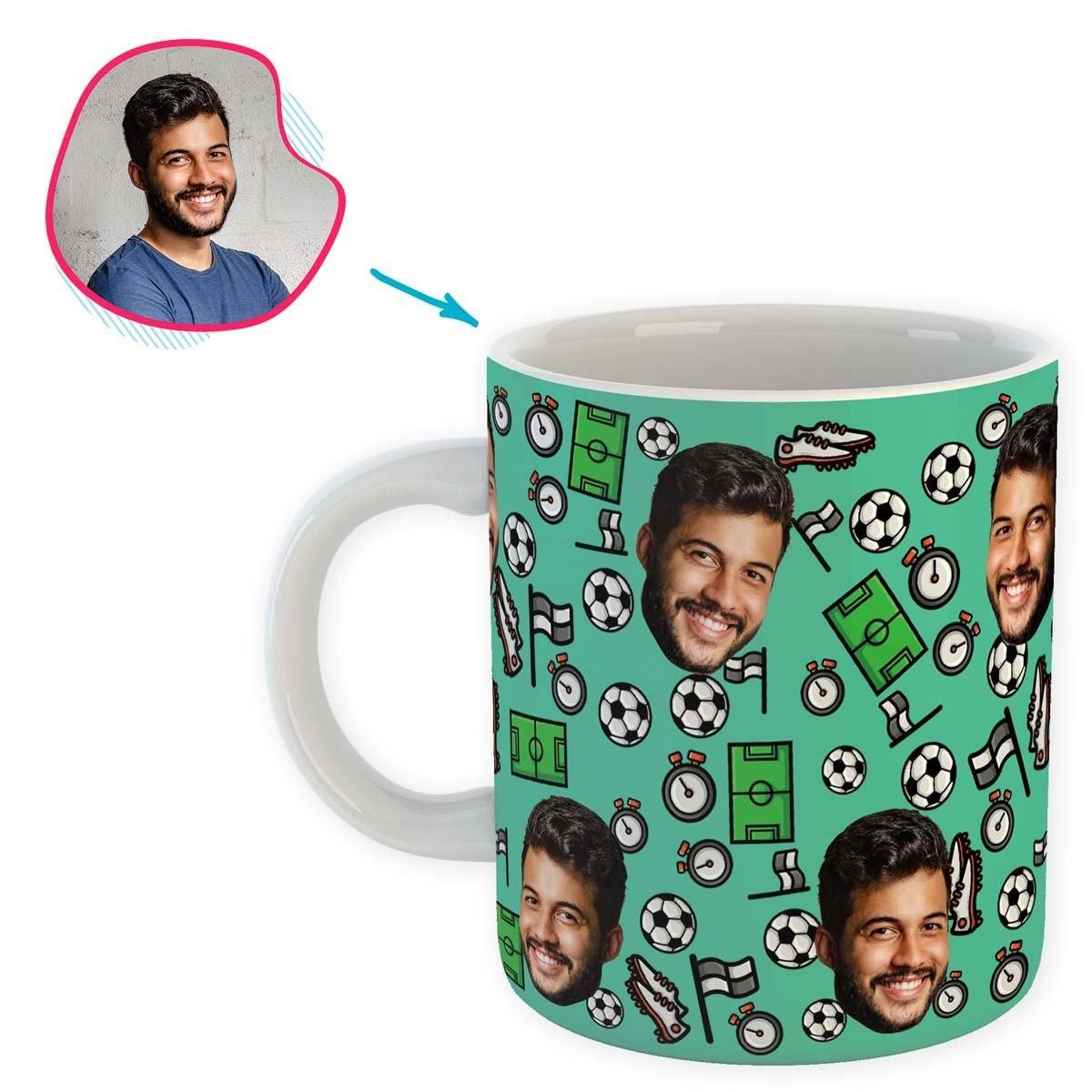mint Football mug personalized with photo of face printed on it