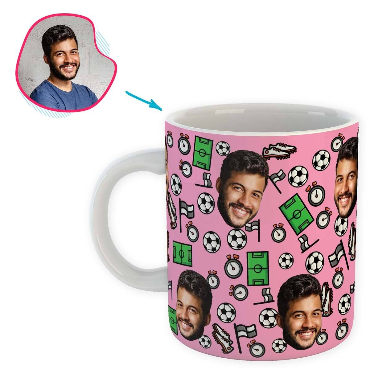 pink Football mug personalized with photo of face printed on it