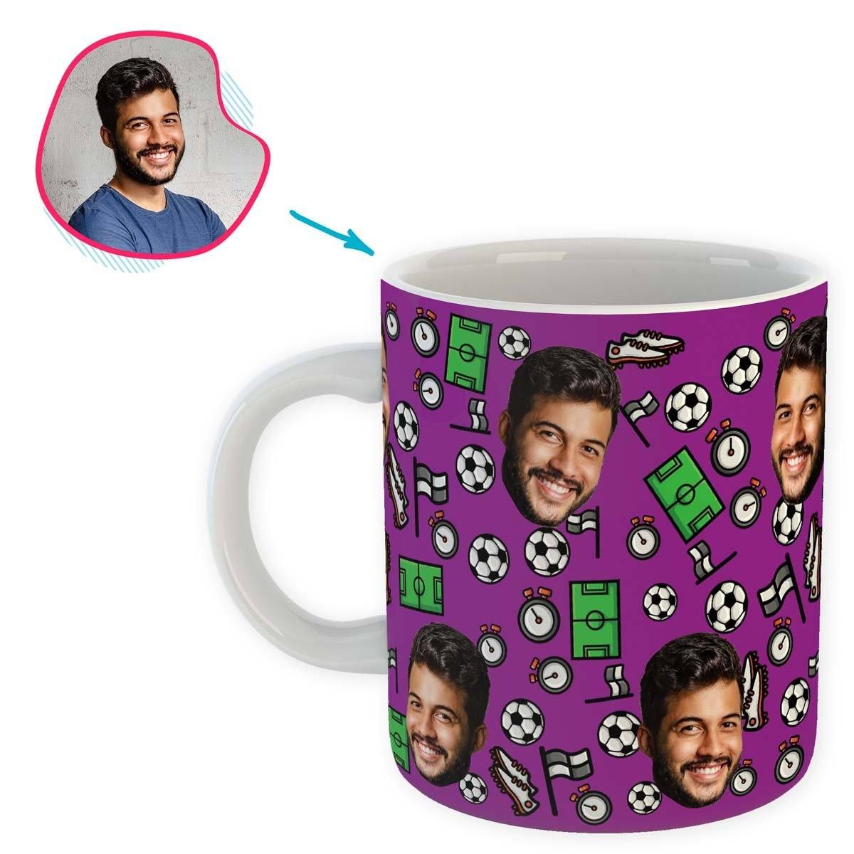 purple Football mug personalized with photo of face printed on it
