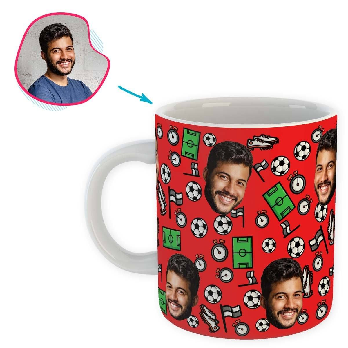 red Football mug personalized with photo of face printed on it