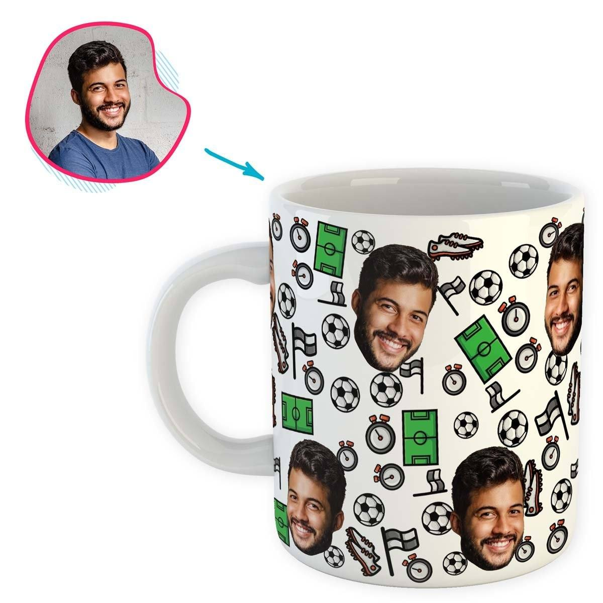 white Football mug personalized with photo of face printed on it