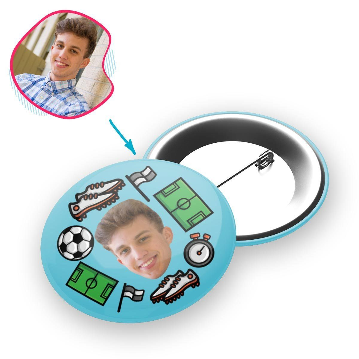 blue Football pin personalized with photo of face printed on it
