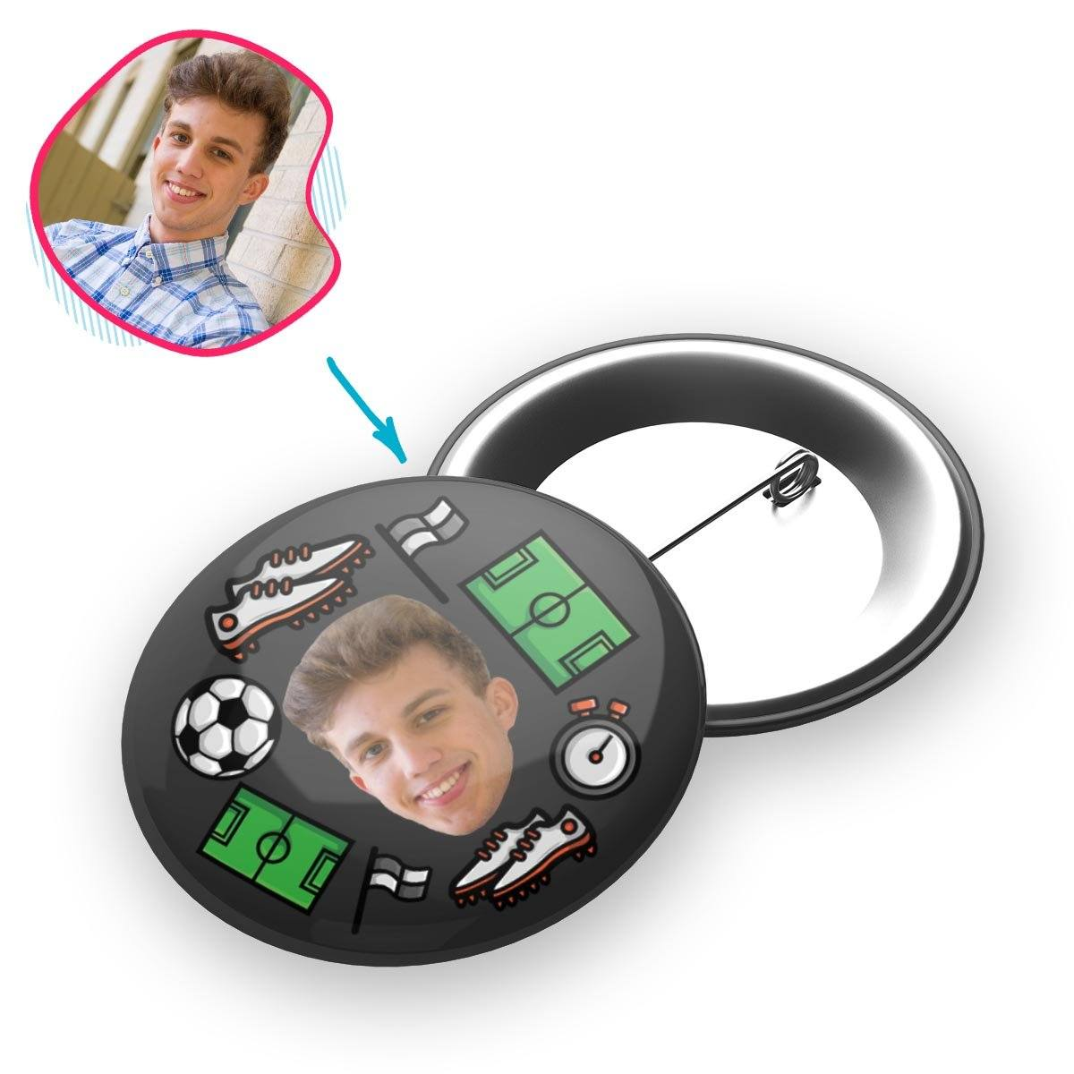 dark Football pin personalized with photo of face printed on it