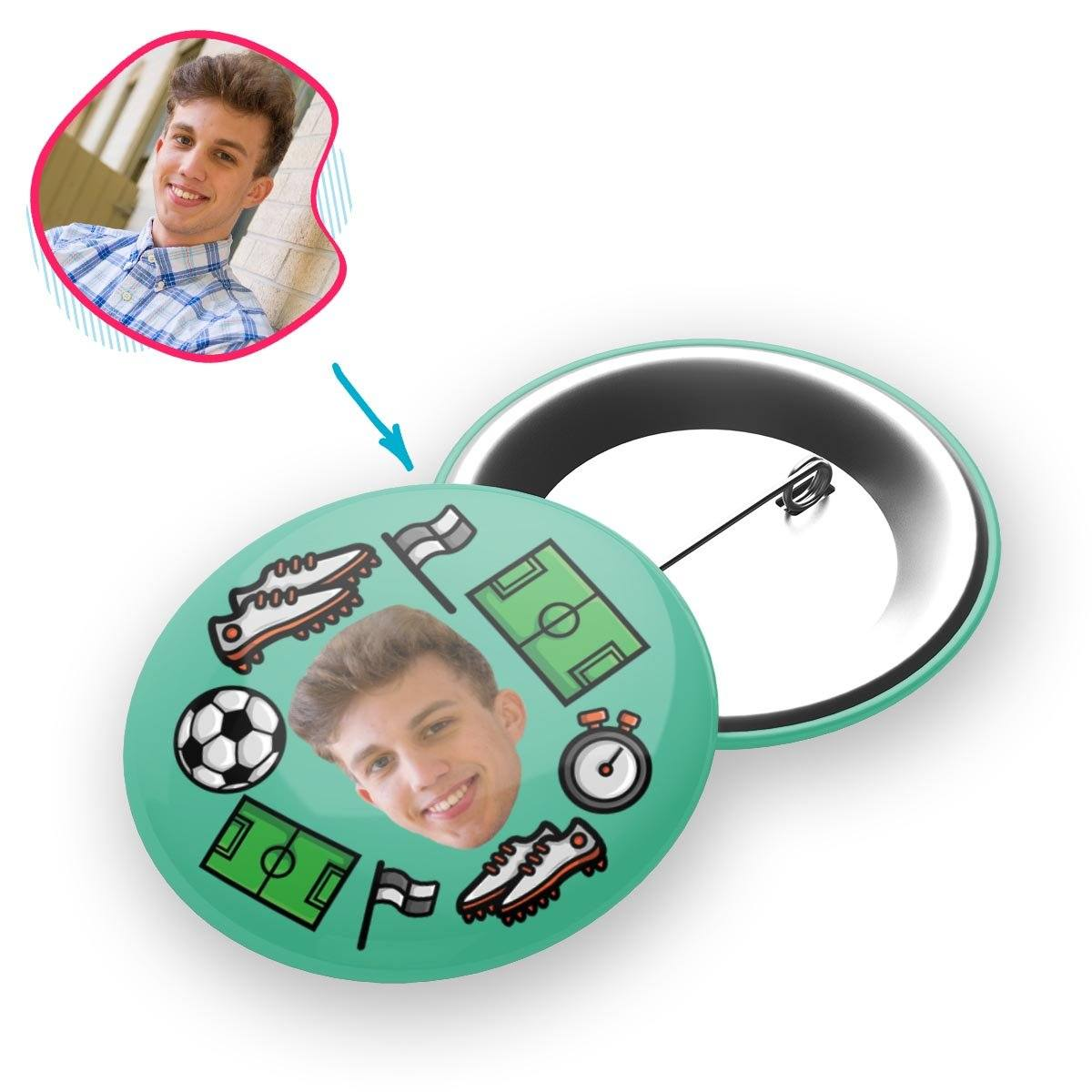 mint Football pin personalized with photo of face printed on it