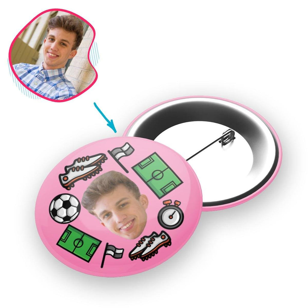 pink Football pin personalized with photo of face printed on it