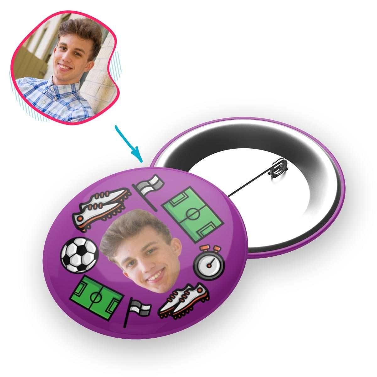 purple Football pin personalized with photo of face printed on it