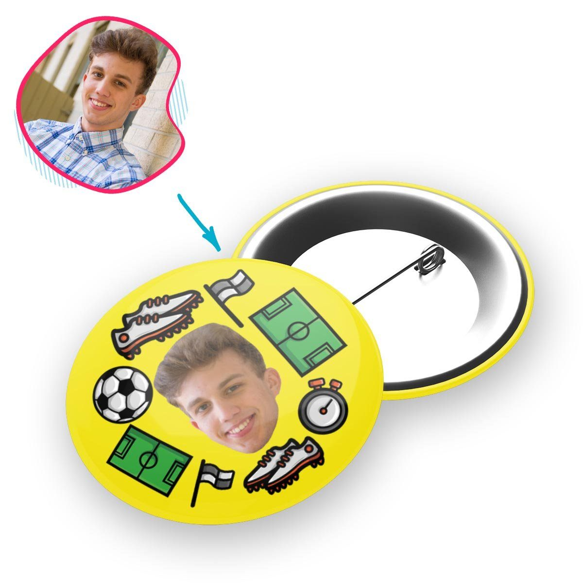 yellow Football pin personalized with photo of face printed on it