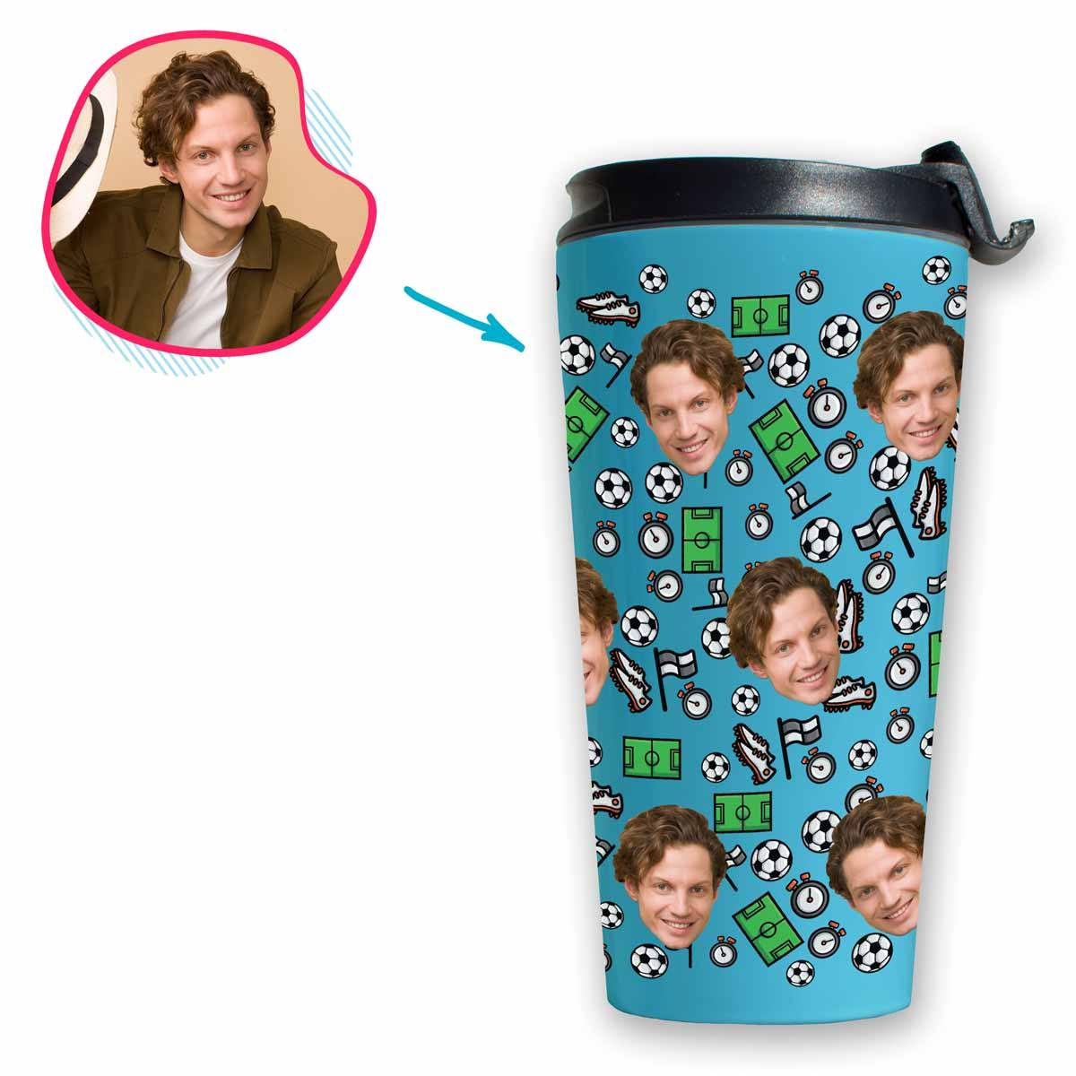 blue Football travel mug personalized with photo of face printed on it