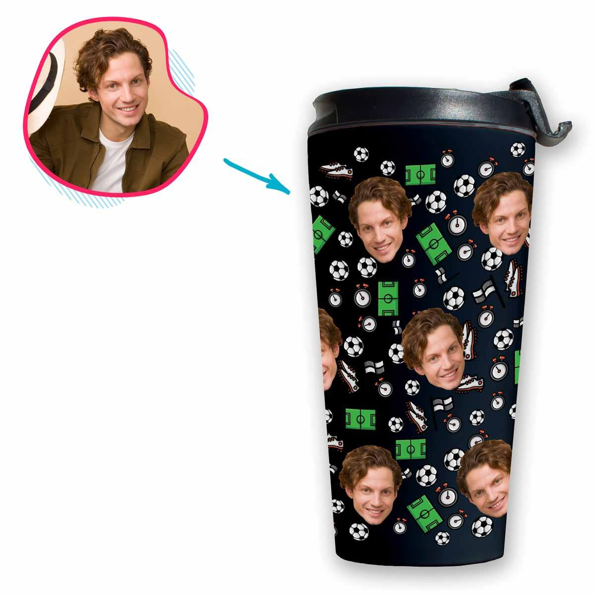 dark Football travel mug personalized with photo of face printed on it