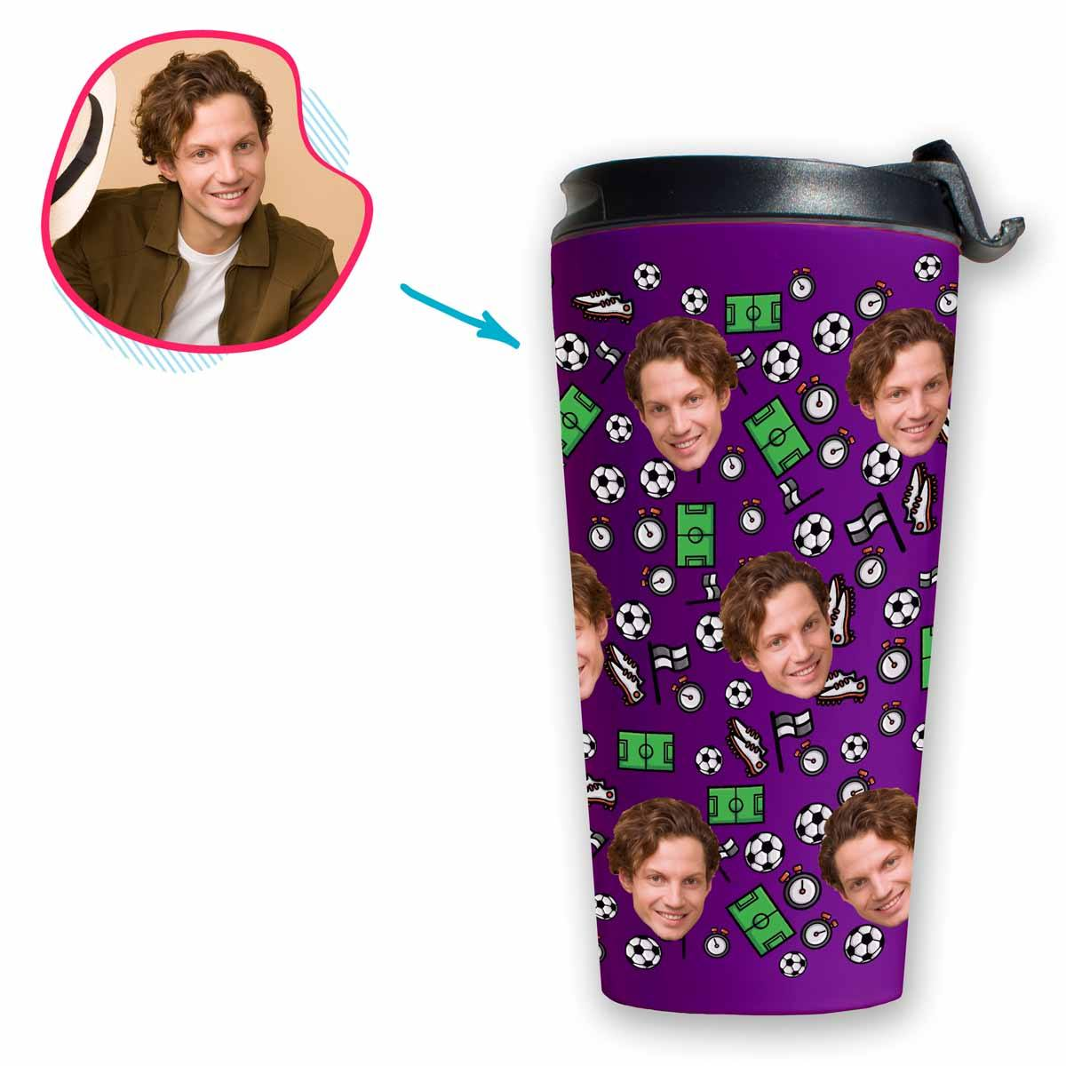 purple Football travel mug personalized with photo of face printed on it
