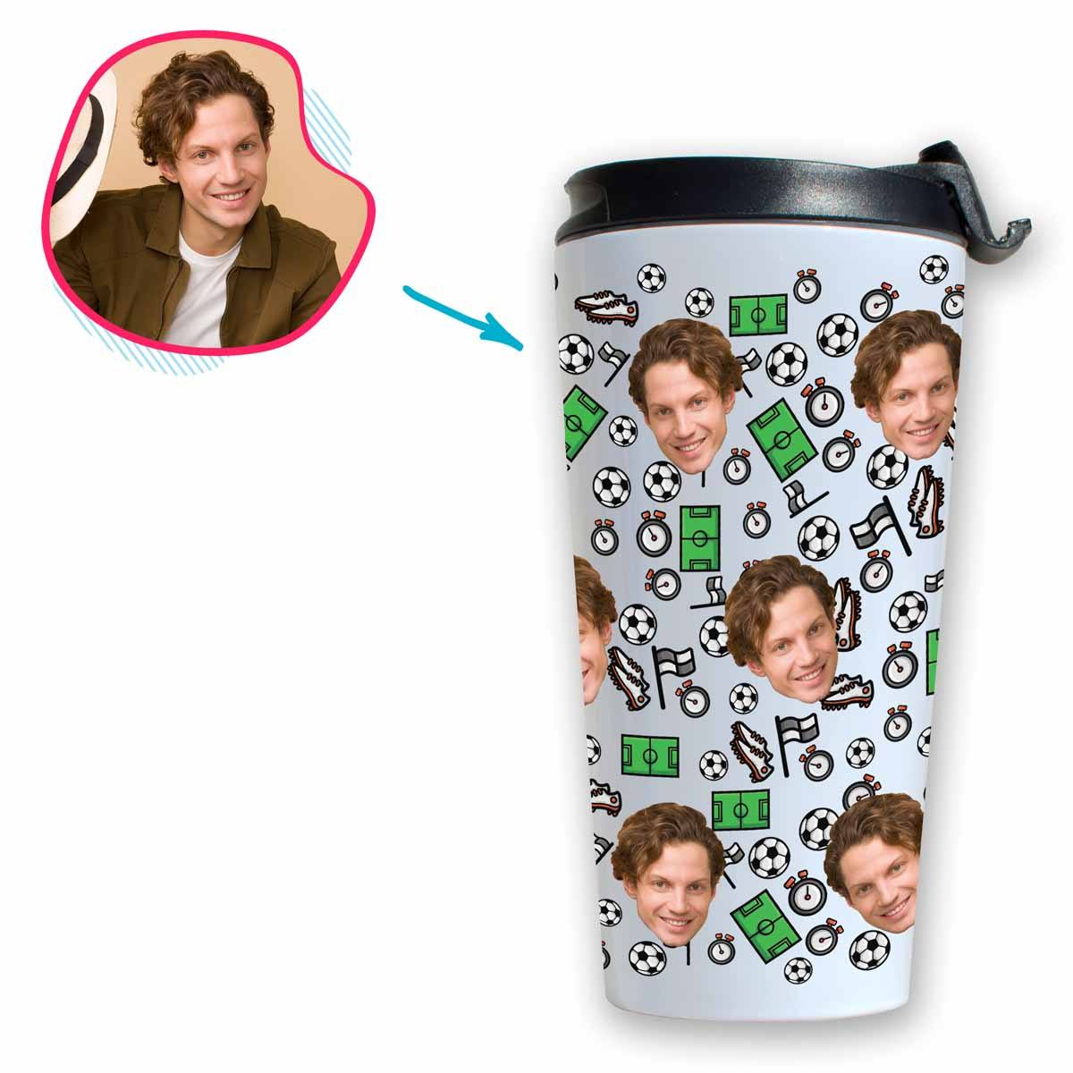 white Football travel mug personalized with photo of face printed on it