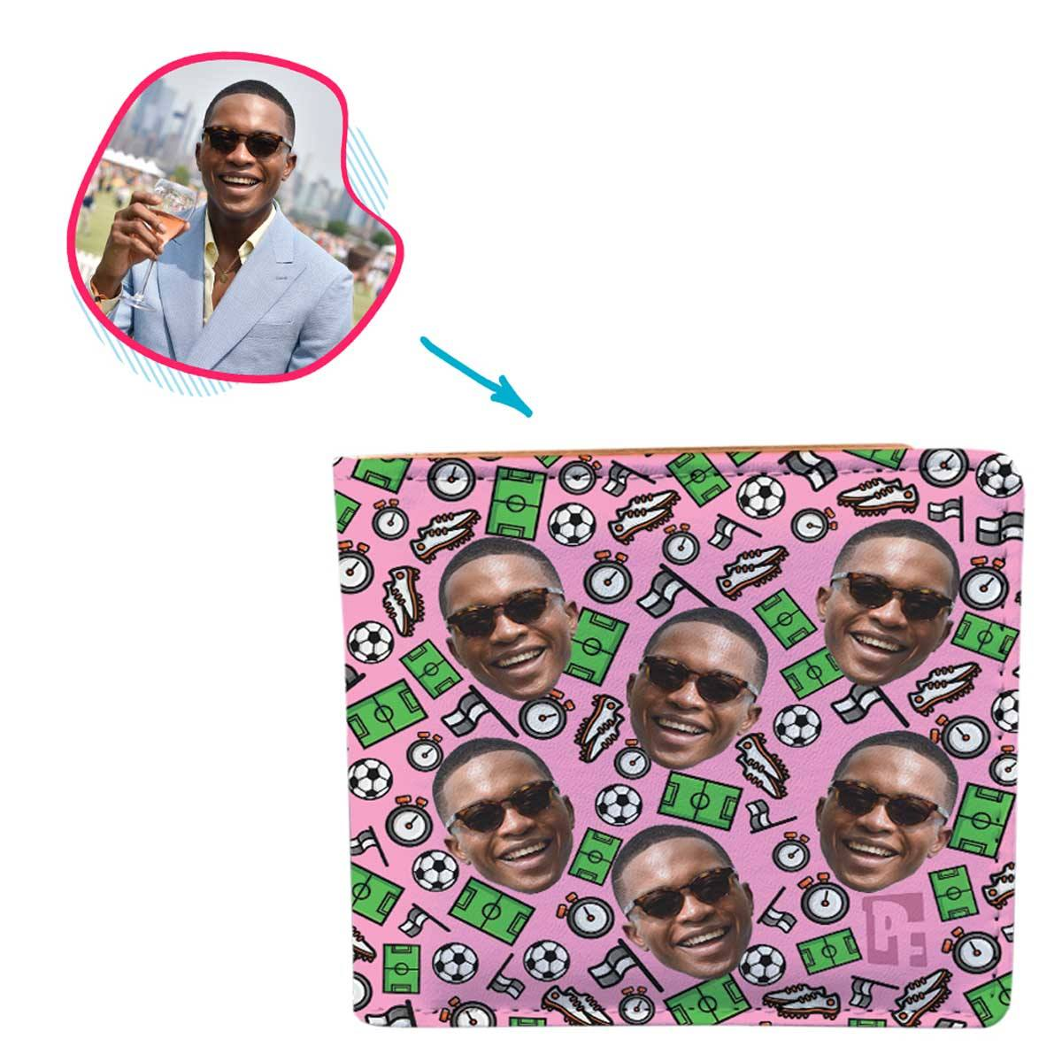 pink Football wallet personalized with photo of face printed on it