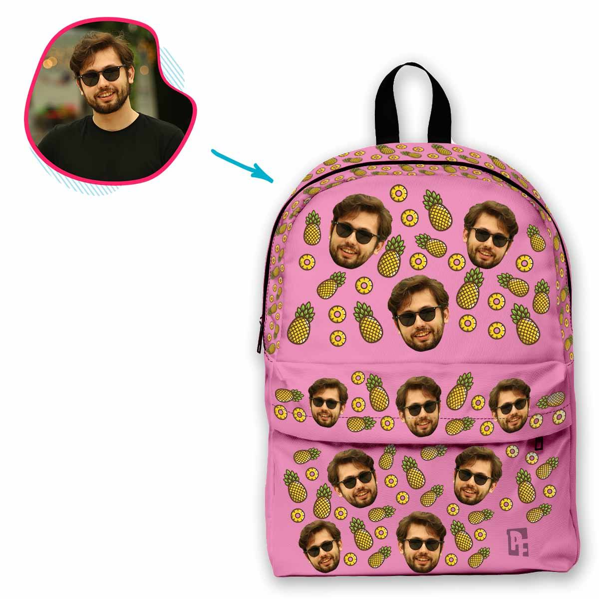 pink Fruits classic backpack personalized with photo of face printed on it