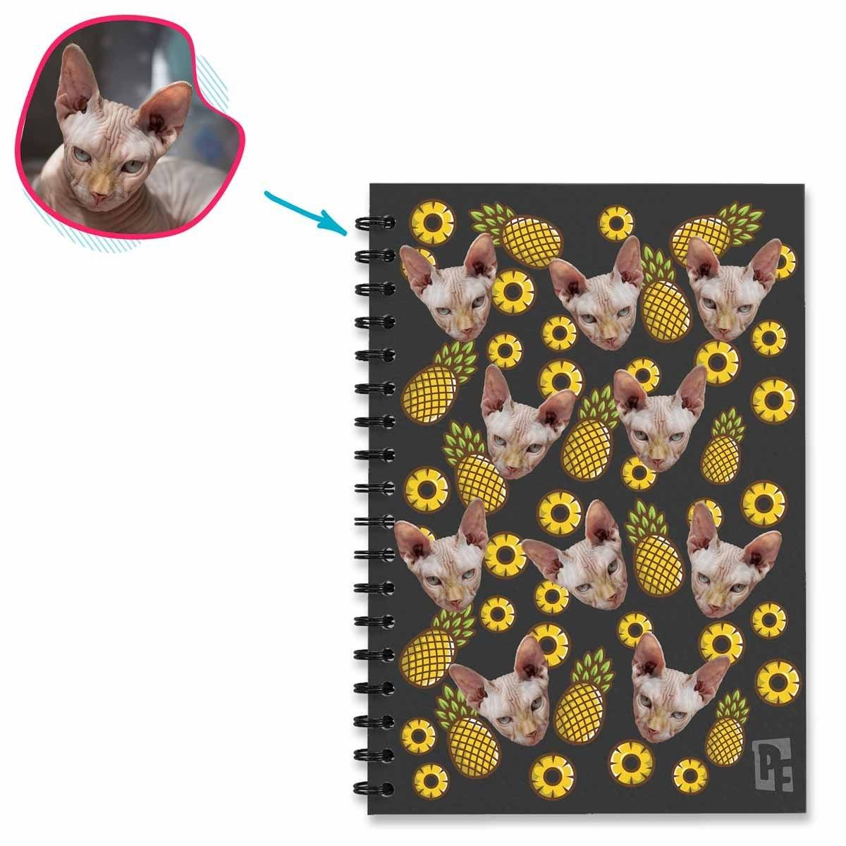 dark Fruits Notebook personalized with photo of face printed on them