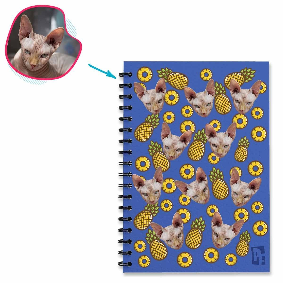 darkblue Fruits Notebook personalized with photo of face printed on them