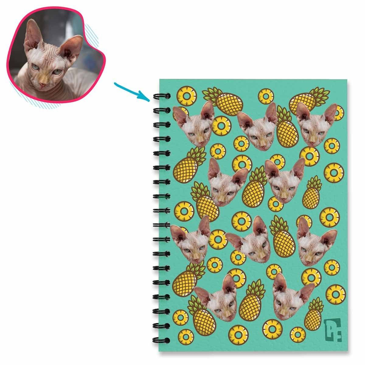 mint Fruits Notebook personalized with photo of face printed on them
