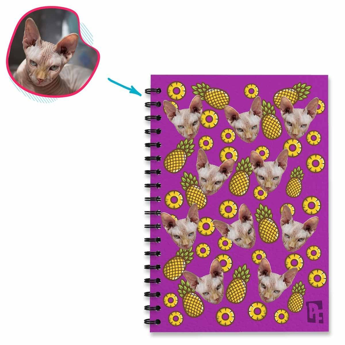 purple Fruits Notebook personalized with photo of face printed on them