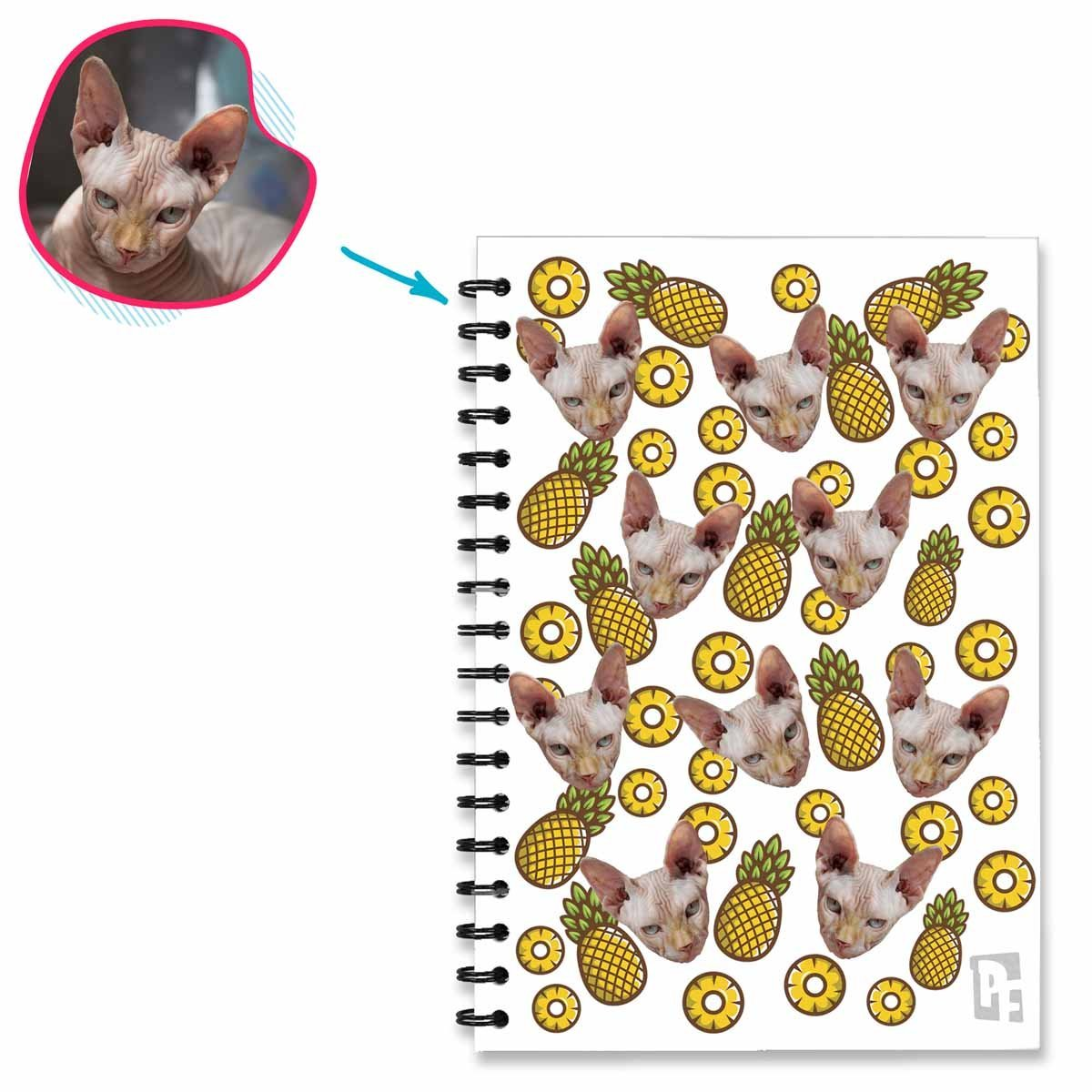 white Fruits Notebook personalized with photo of face printed on them