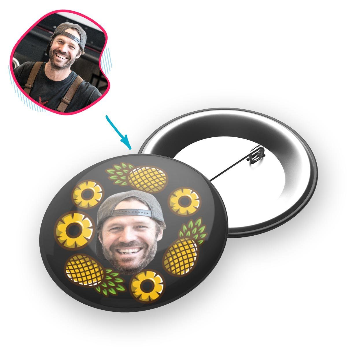 dark Fruits pin personalized with photo of face printed on it