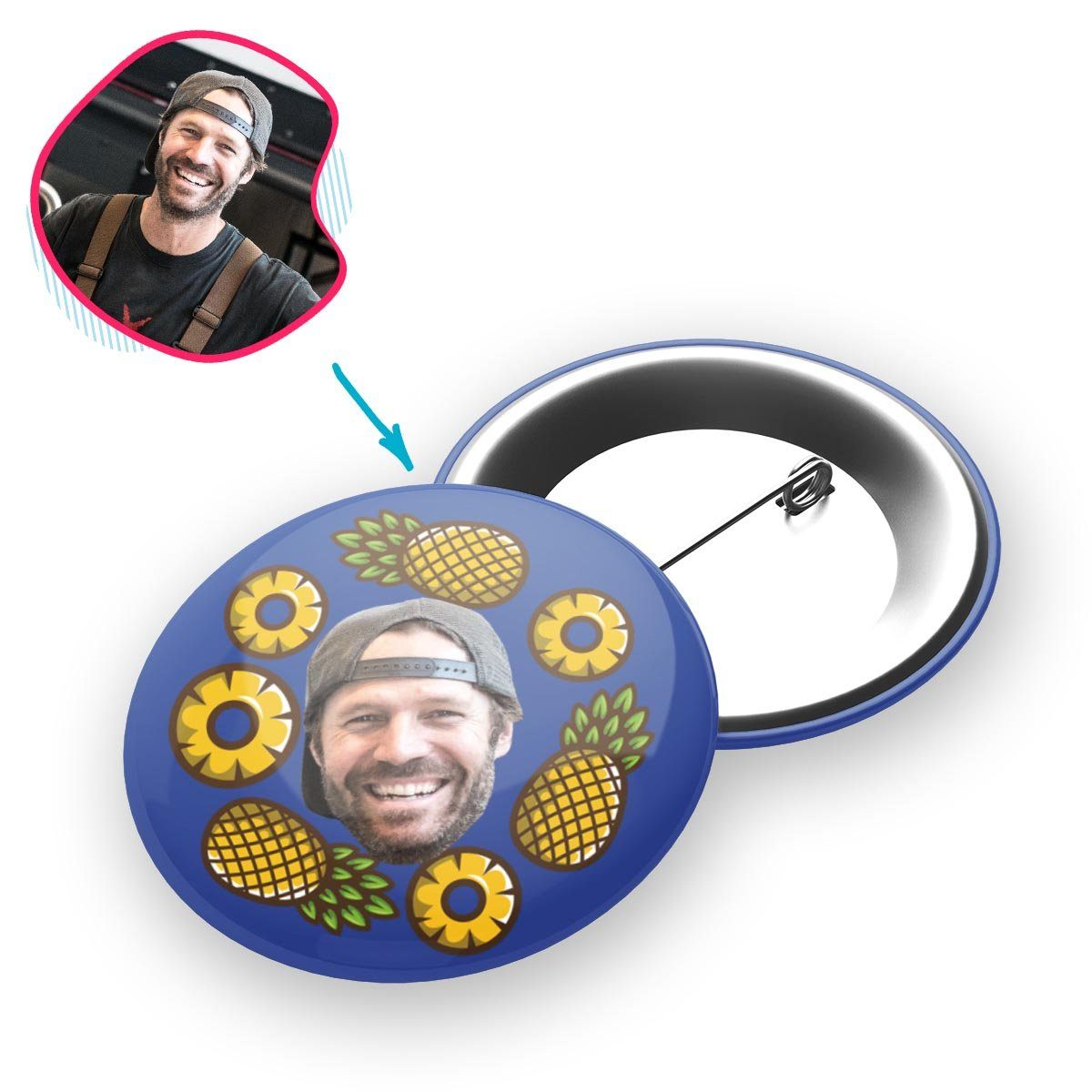 darkblue Fruits pin personalized with photo of face printed on it