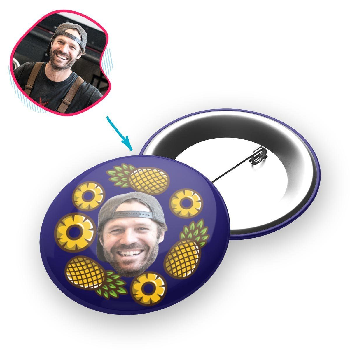 navy Fruits pin personalized with photo of face printed on it