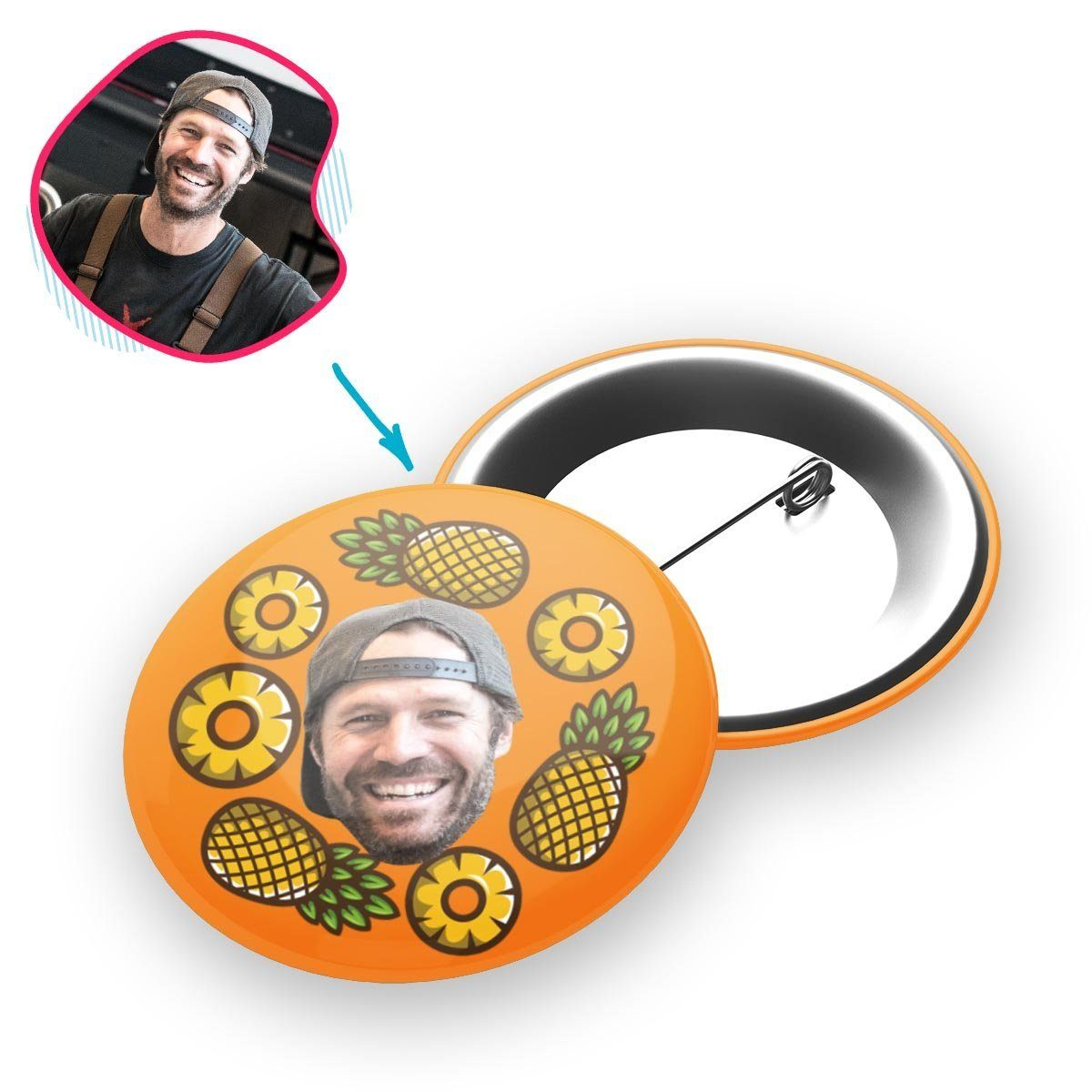 orange Fruits pin personalized with photo of face printed on it