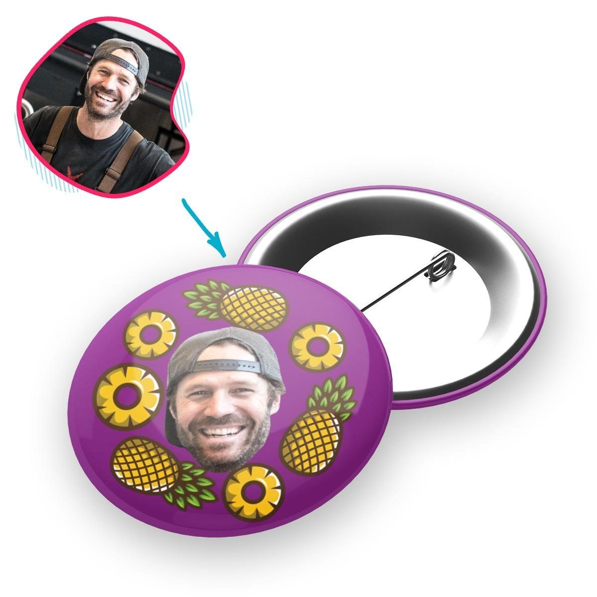 purple Fruits pin personalized with photo of face printed on it