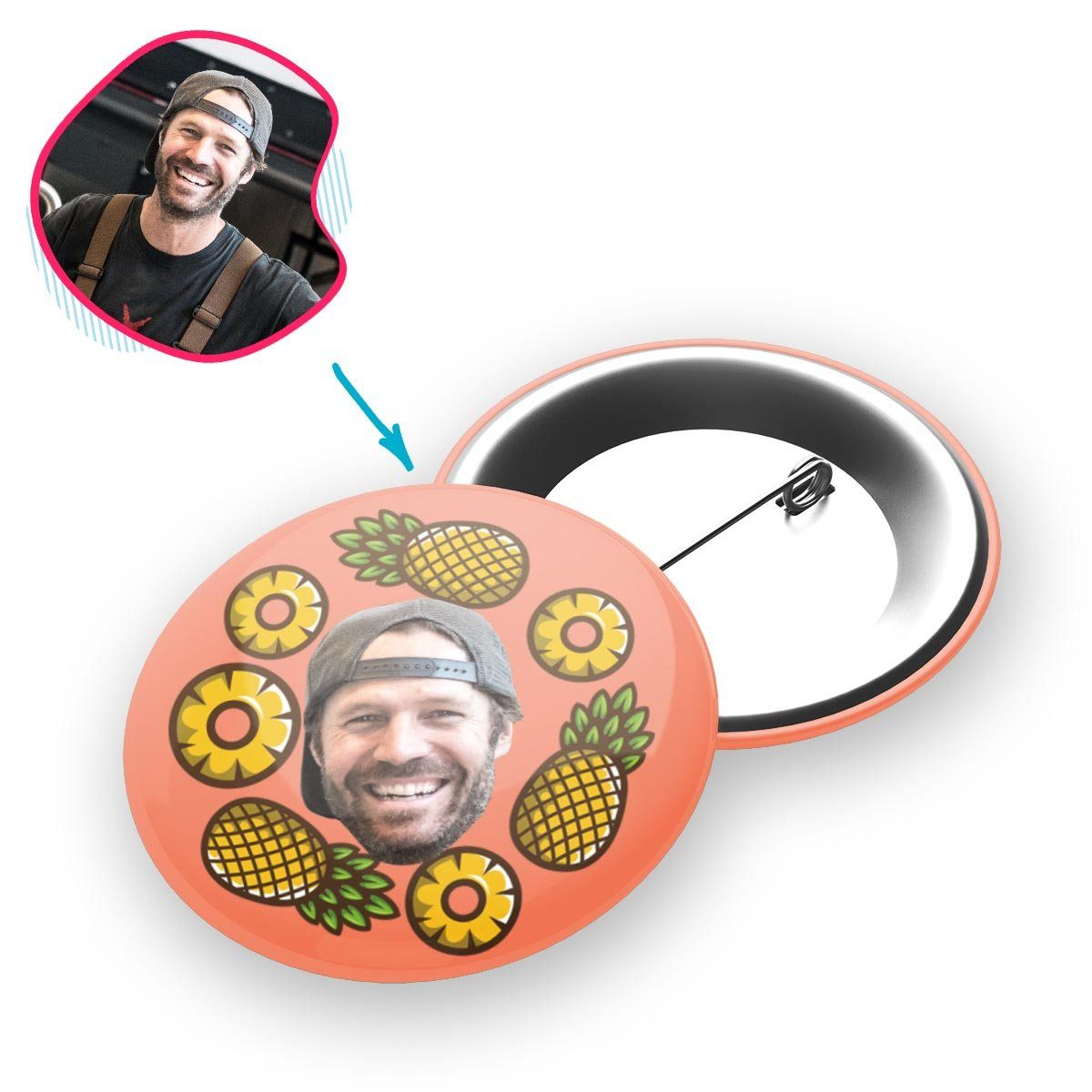 salmon Fruits pin personalized with photo of face printed on it