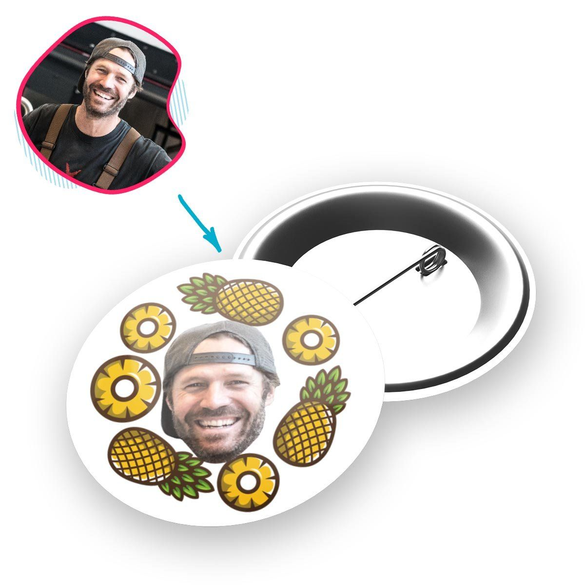 white Fruits pin personalized with photo of face printed on it