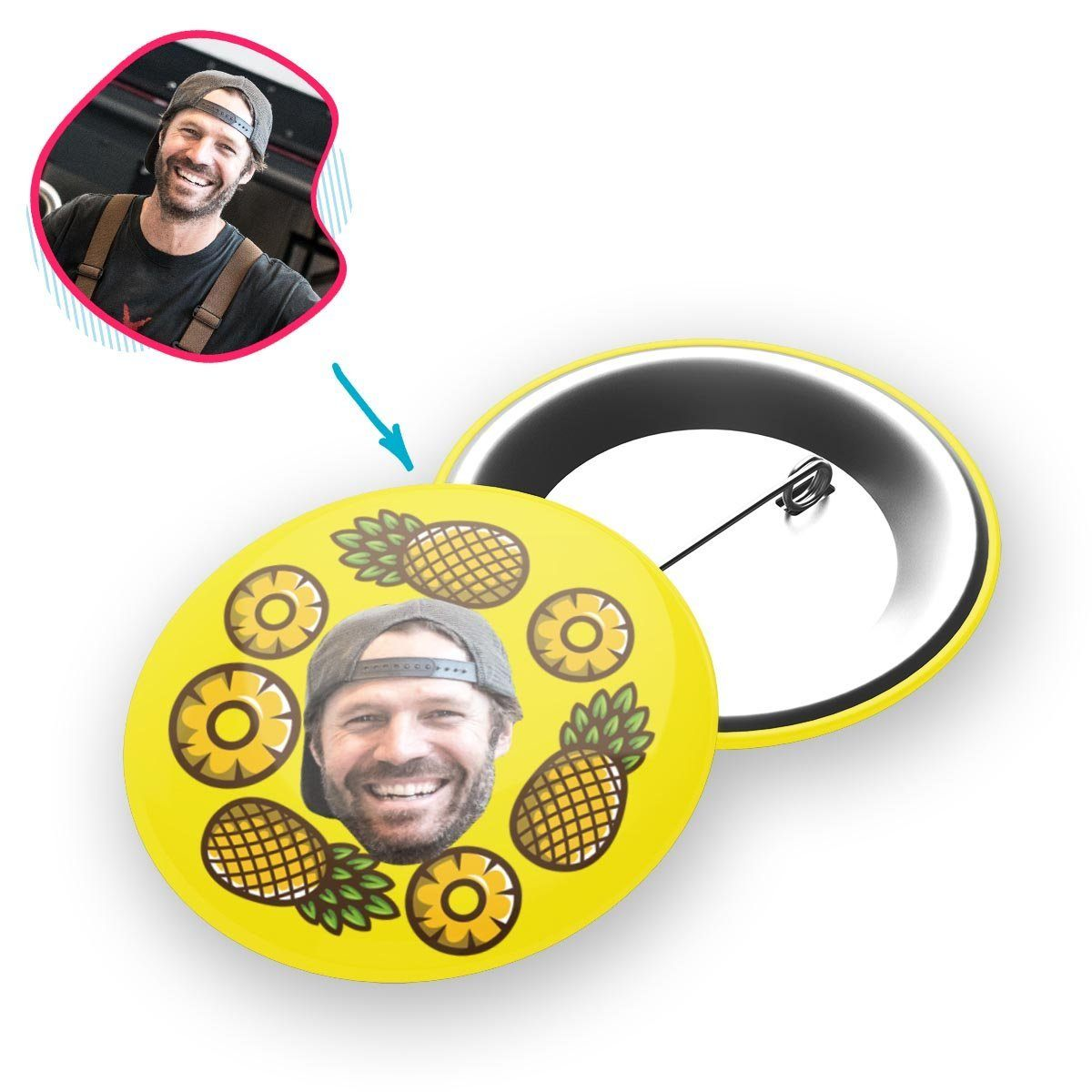 yellow Fruits pin personalized with photo of face printed on it