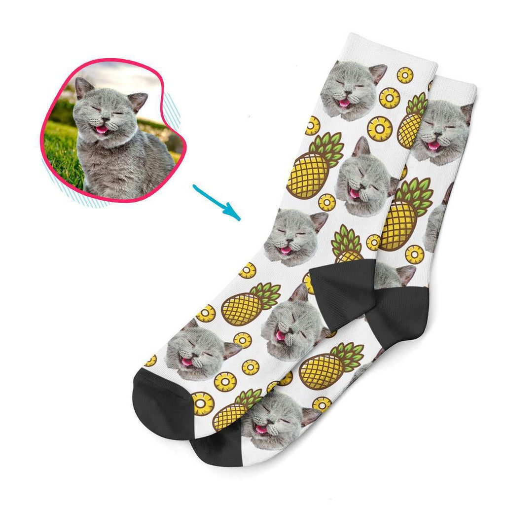 white Fruits socks personalized with photo of face printed on them