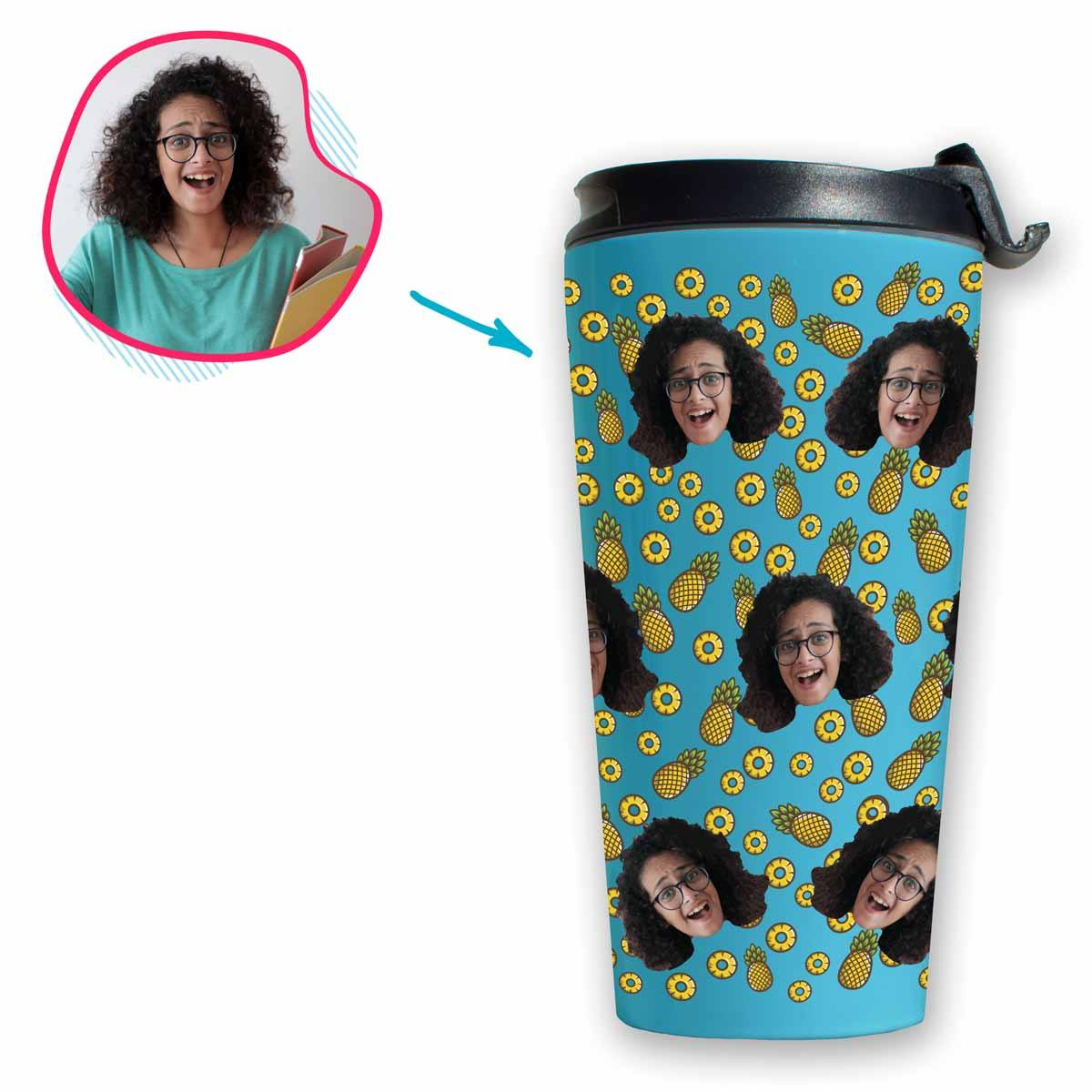 blue Fruits travel mug personalized with photo of face printed on it