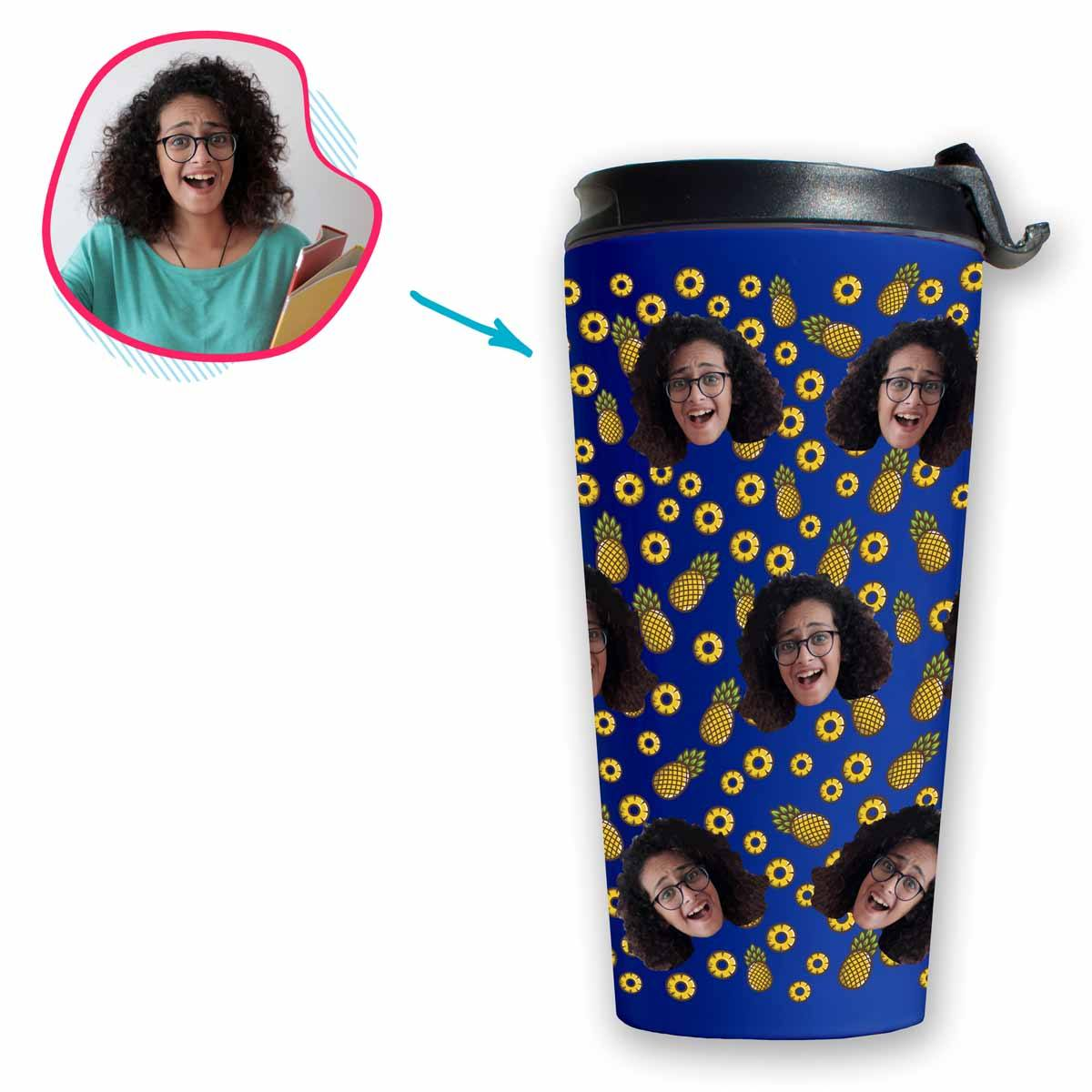 darkblue Fruits travel mug personalized with photo of face printed on it