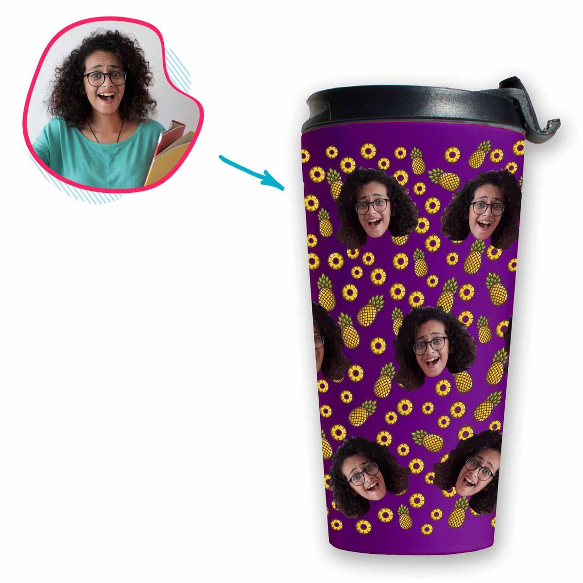 purple Fruits travel mug personalized with photo of face printed on it
