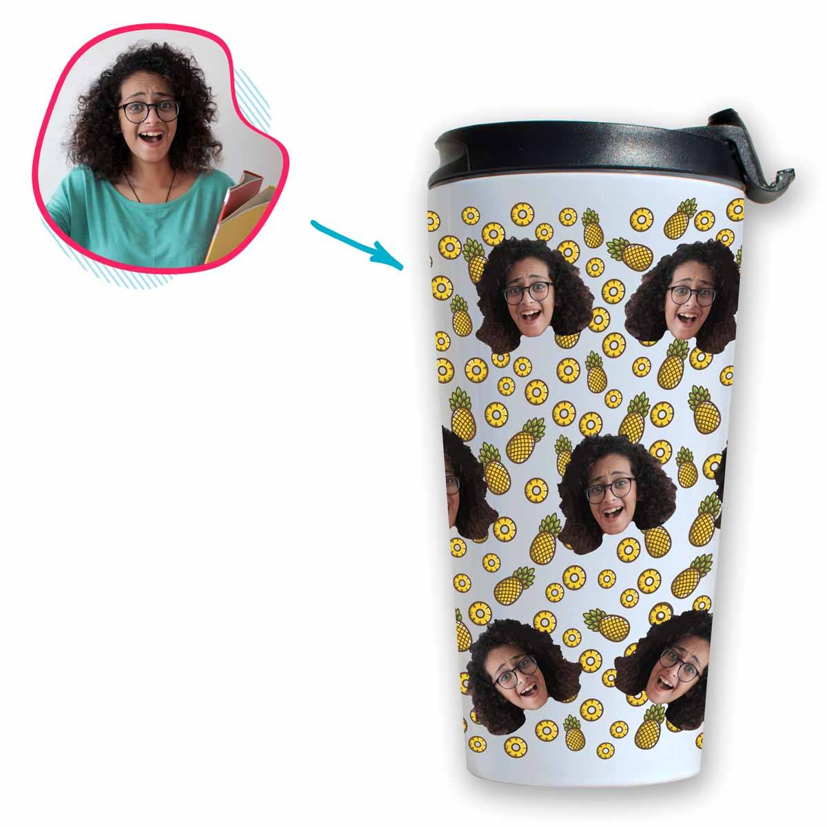 white Fruits travel mug personalized with photo of face printed on it