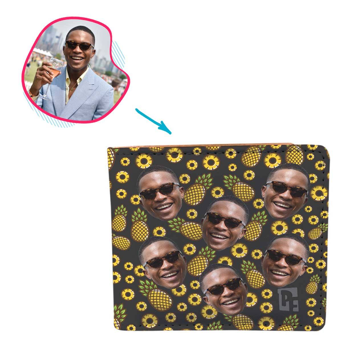 dark Fruits wallet personalized with photo of face printed on it
