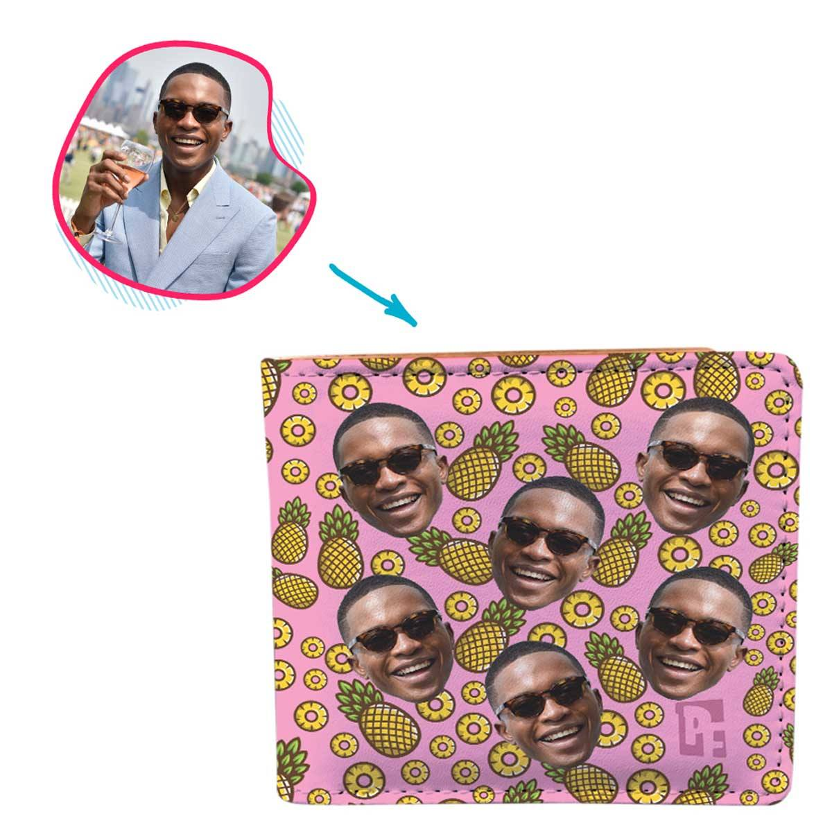 pink Fruits wallet personalized with photo of face printed on it