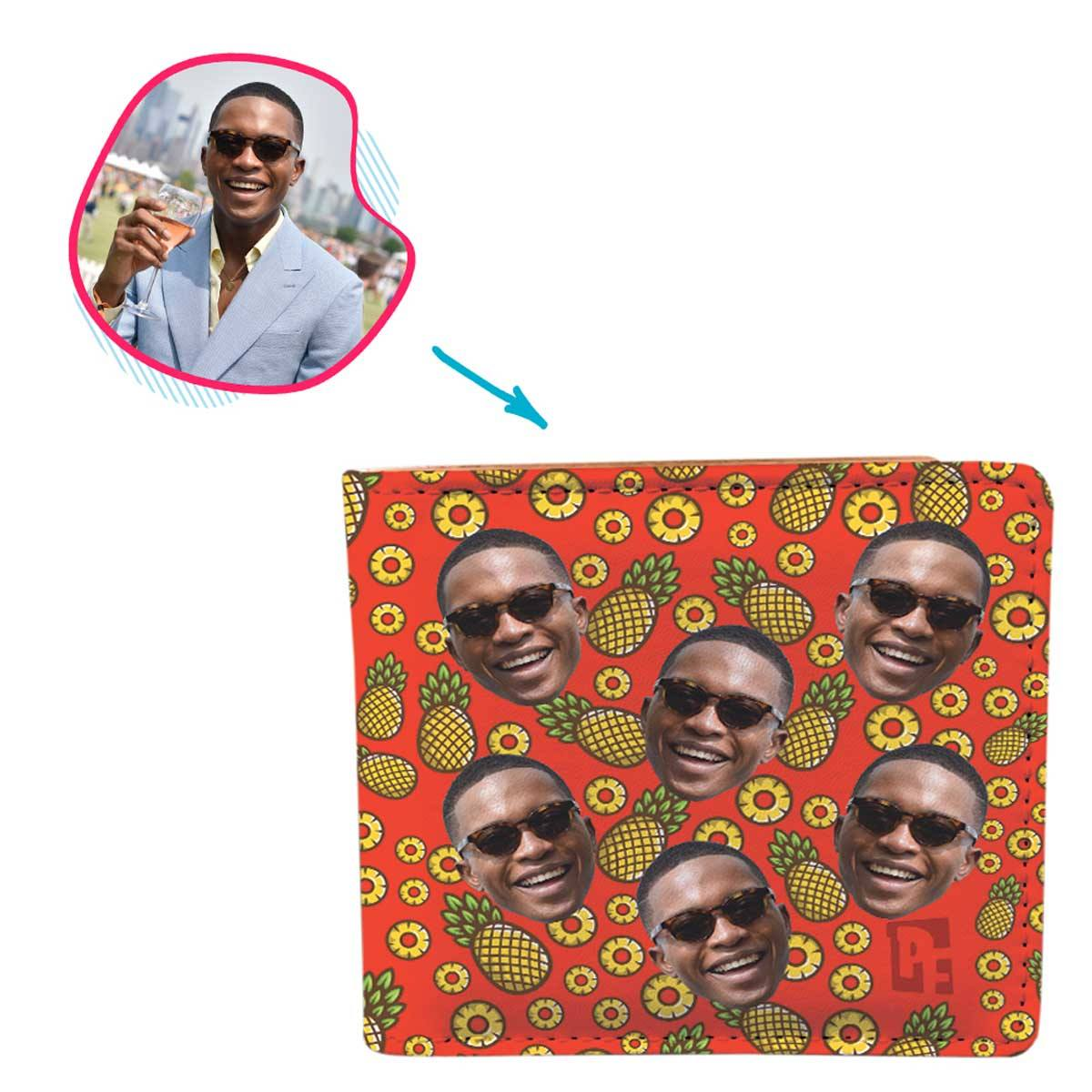 red Fruits wallet personalized with photo of face printed on it