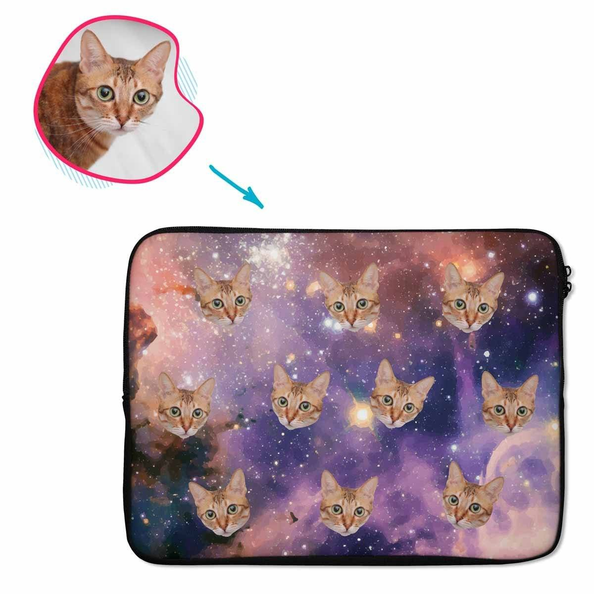 galaxy Galaxy laptop sleeve personalized with photo of face printed on them