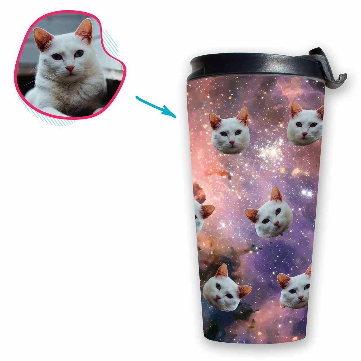 galaxy Galaxy travel mug personalized with photo of face printed on it