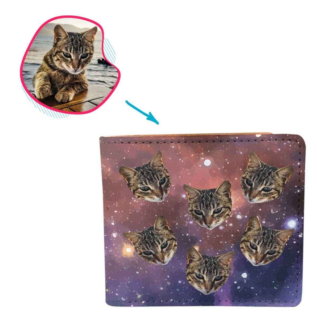 galaxy Galaxy wallet personalized with photo of face printed on it