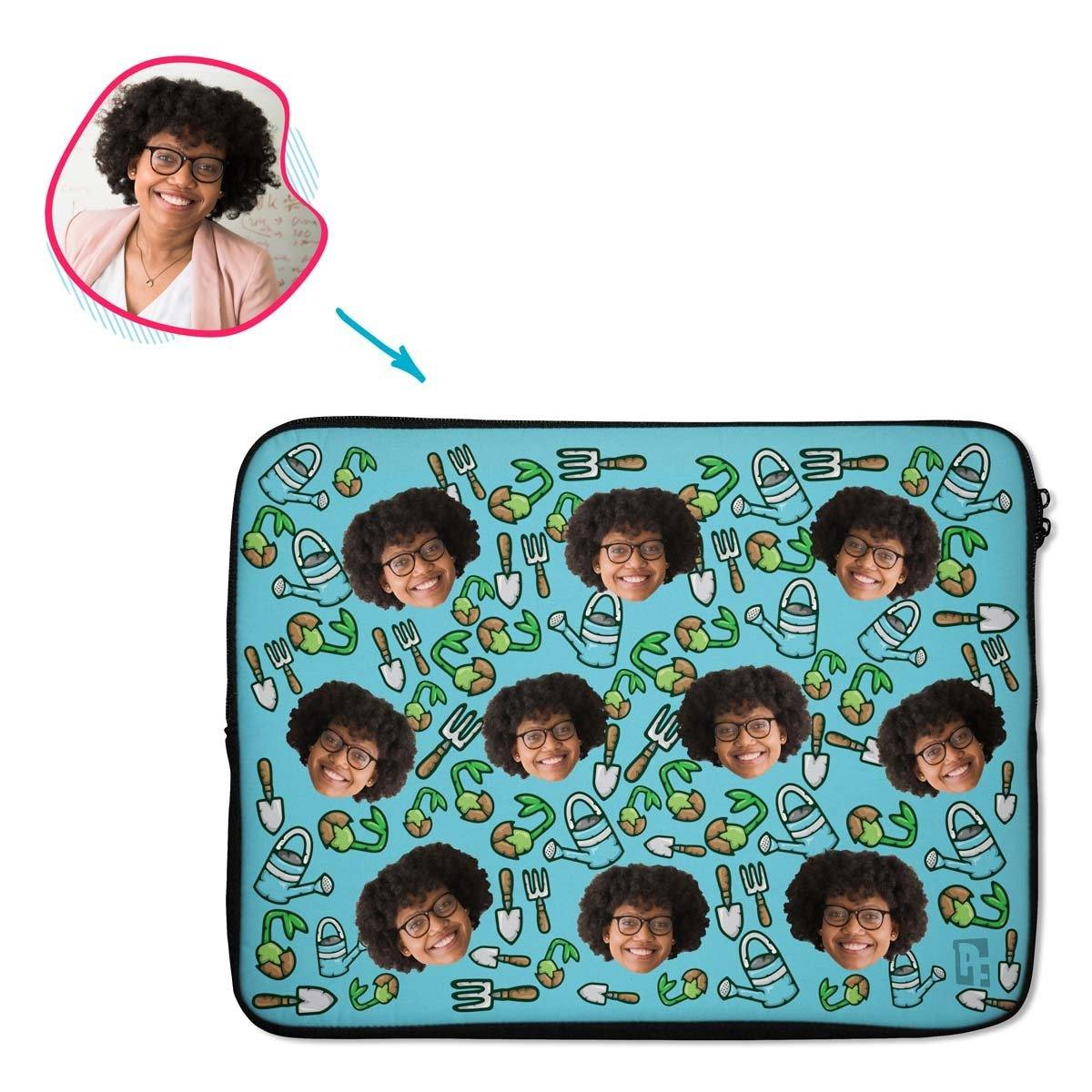 blue Gardening laptop sleeve personalized with photo of face printed on them