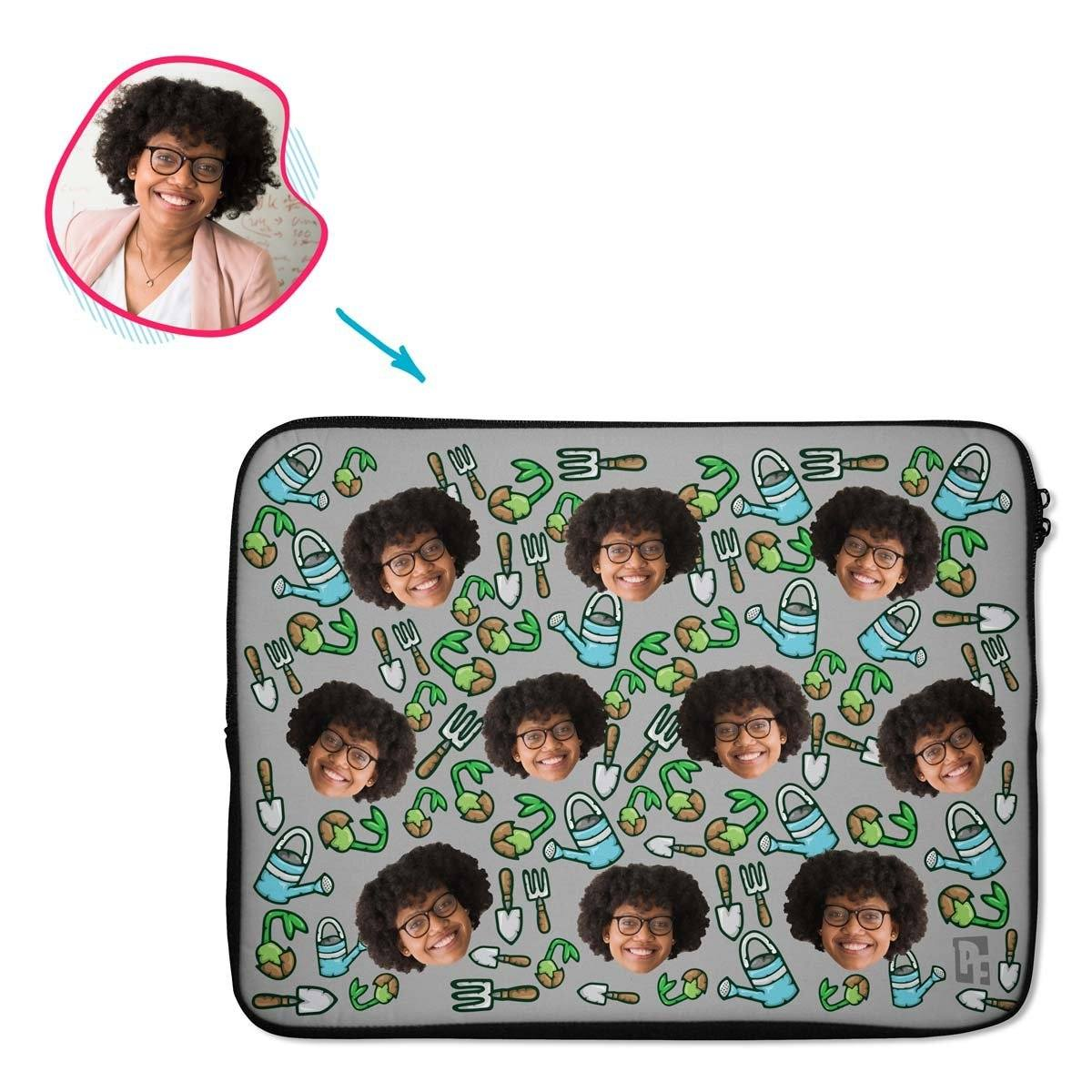 grey Gardening laptop sleeve personalized with photo of face printed on them