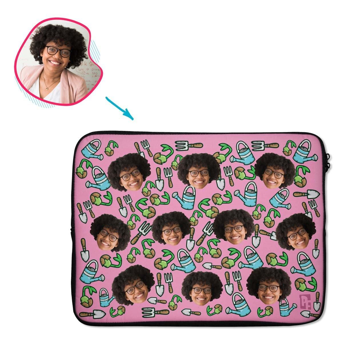 pink Gardening laptop sleeve personalized with photo of face printed on them