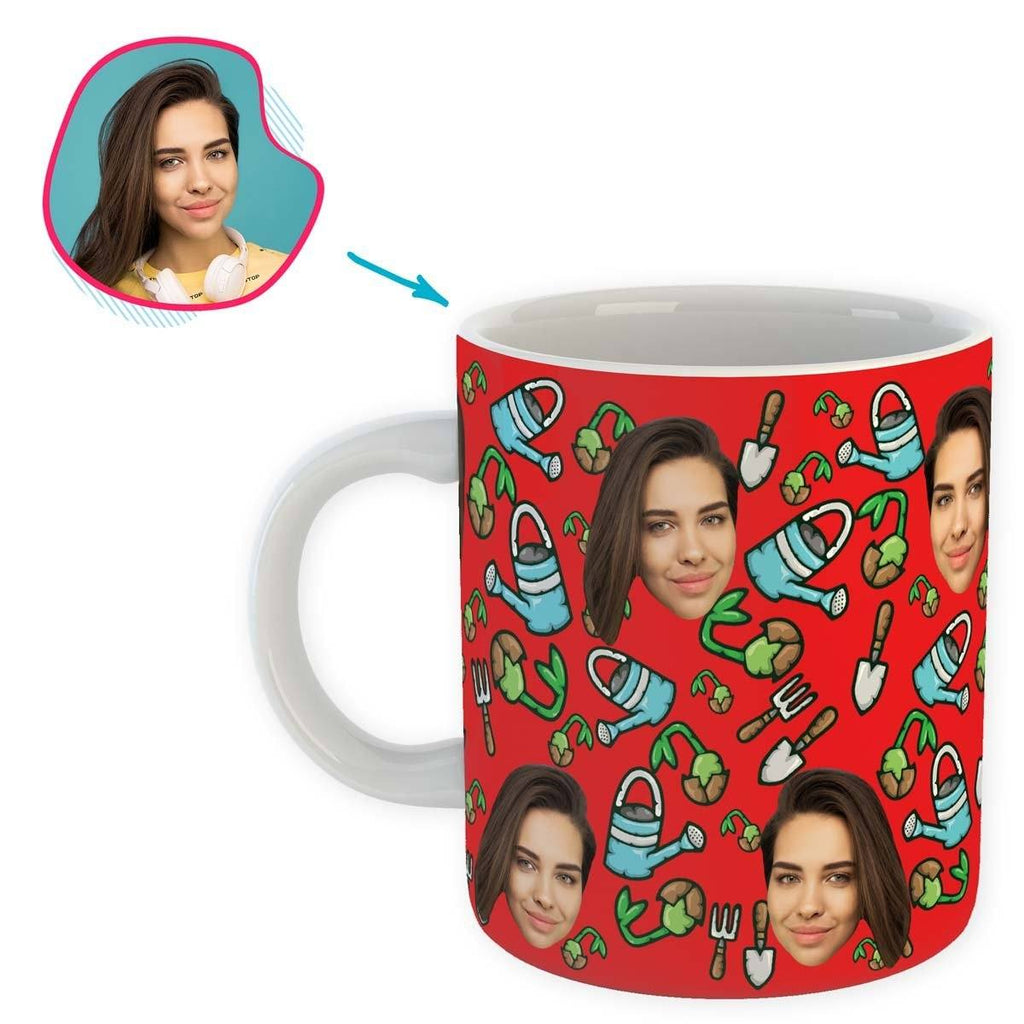 red Gardening mug personalized with photo of face printed on it